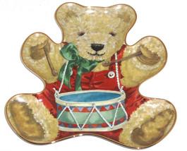 Little Drummer Bear Teddy Shape Collector Plate Franklin Mint Retired  - $59.95