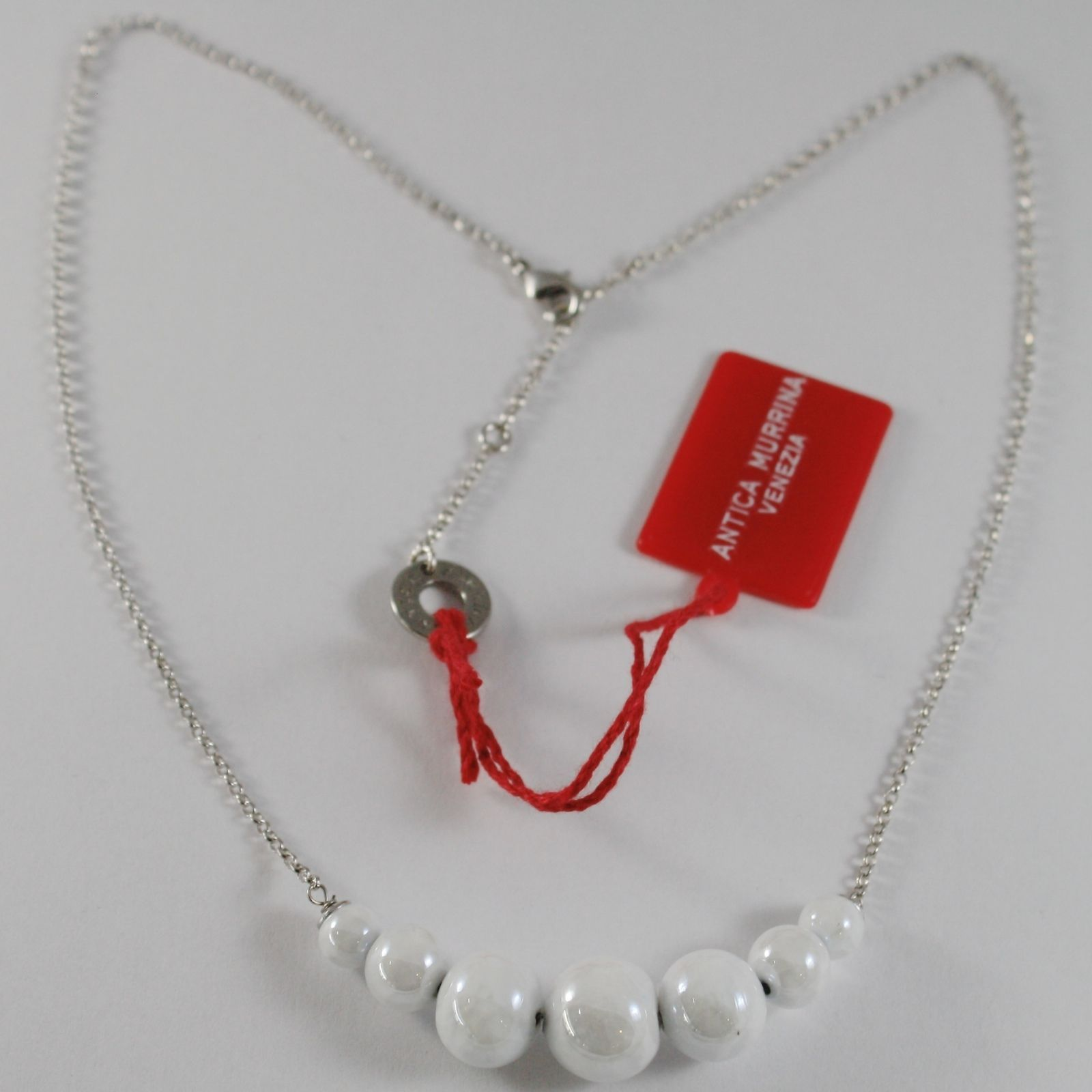 ANTICA MURRINA VENEZIA CENTRAL WHITE SPHERE BALLS NECKLACE 50 CM, 20 INCHES