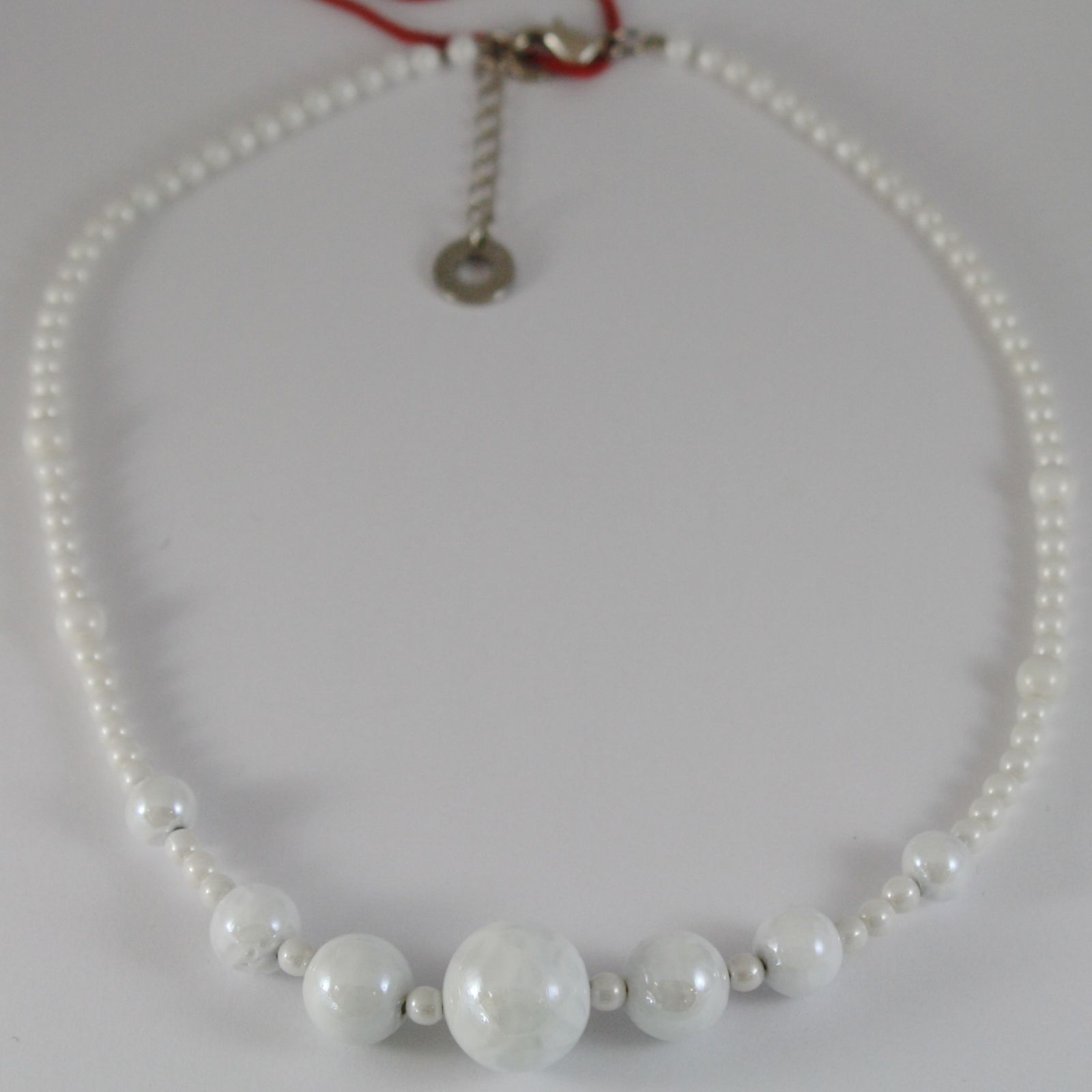 ANTICA MURRINA VENEZIA WHITE SPHERE BALLS NECKLACE, PERLEADI, 50 CM, 20 INCHES