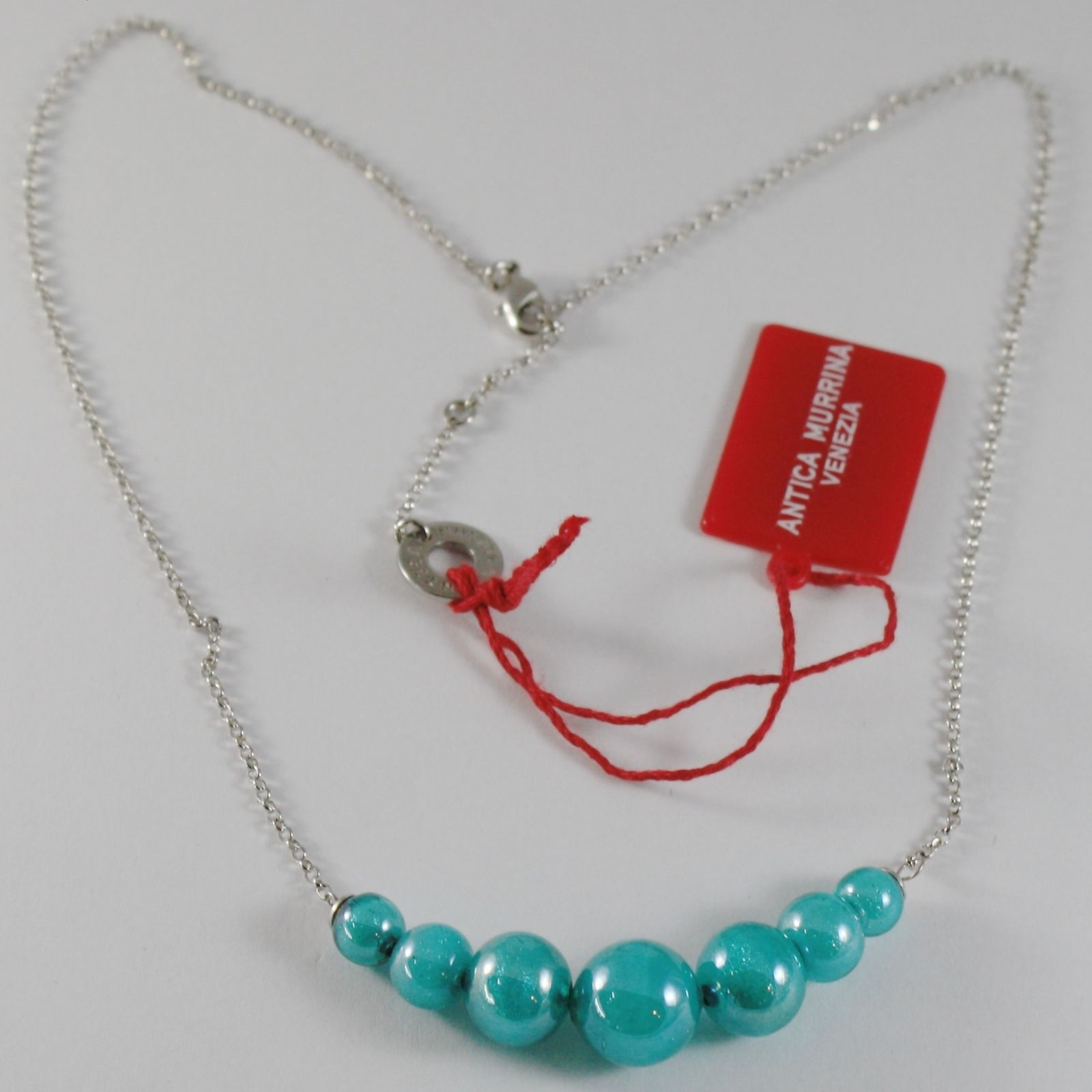 ANTICA MURRINA VENEZIA CENTRAL TURQUOISE BALLS NECKLACE 50 CM 20 INCHES