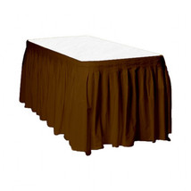 "2 Plastic Table Skirts 13' X 29"" Streches-19' - Brown - £9.79 GBP"