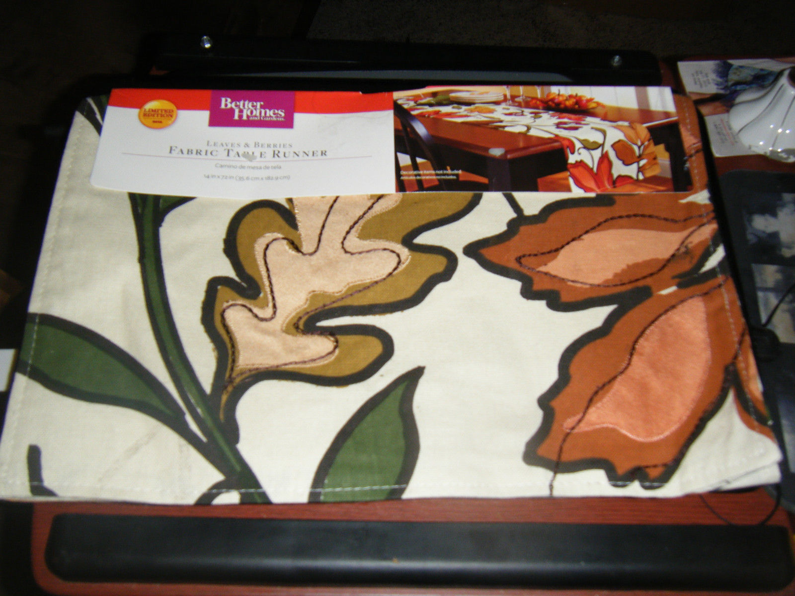 "Primary image for Better Homes & Gardens Leaves & Berries Fabric Table Runner - 14"" X 72"""