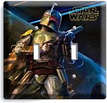 STAR WARS BOBA FETT DEADLY GALAXY BOUNTY HUNTER DOUBLE LIGHT SWITCH WALL... - $10.79
