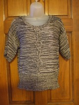 Cable & Gauge Petite Black & Gray Marled Pullover Sweater Top - Size M - $13.72