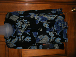Coldwater Creek Black Floral Print Stretch Knit Jacket Top - Size S - $18.63