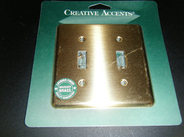 Creative Accents Brushed Brass Steel 2 Toggle Wall Plate Cover #2BB102 - $7.91