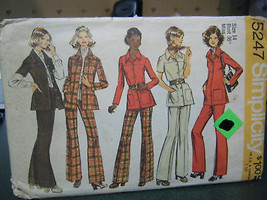Simplicity 5247 Misses Shirt Jacket & Pants Pattern - Size 14 Bust 36 - $4.90