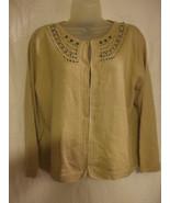 Ladies Norton McNaughton Beaded Front Yoke Cardigan Sweater - Size L - $14.71