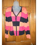 Ladies Grace Petite Checkerboard Pattern Cardigan Sweater Top - Size P/L - $14.71