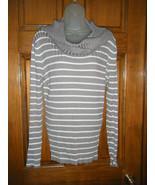 Ladies Apt. 9 Gray & White Striped Cowl Neck Sweater - Size L - $15.69