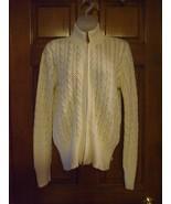 Liz Claiborne Cream Color Zip Front Crocheted Sweater - Size M - $17.65