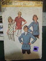 Vintage Simplicity 6436 Misses Shirt Pattern - Size 10 Bust 32 1/2 - $4.46