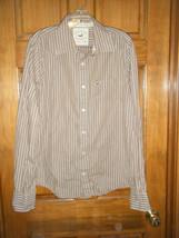 Men's Hollister California Brown & White Striped LS Shirt - Size M - $12.46