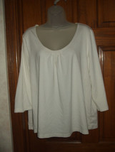George Cream Color Beaded Neck Shirred Front St... - $10.68