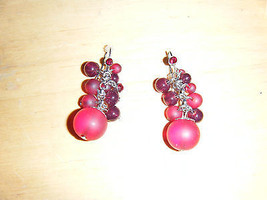 Red Bead Drop Pierced Earrings - $8.01