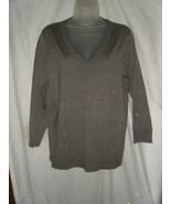 Liz Claiborne Gray Silk Blend V-Neck Sweater - Size L - $15.69