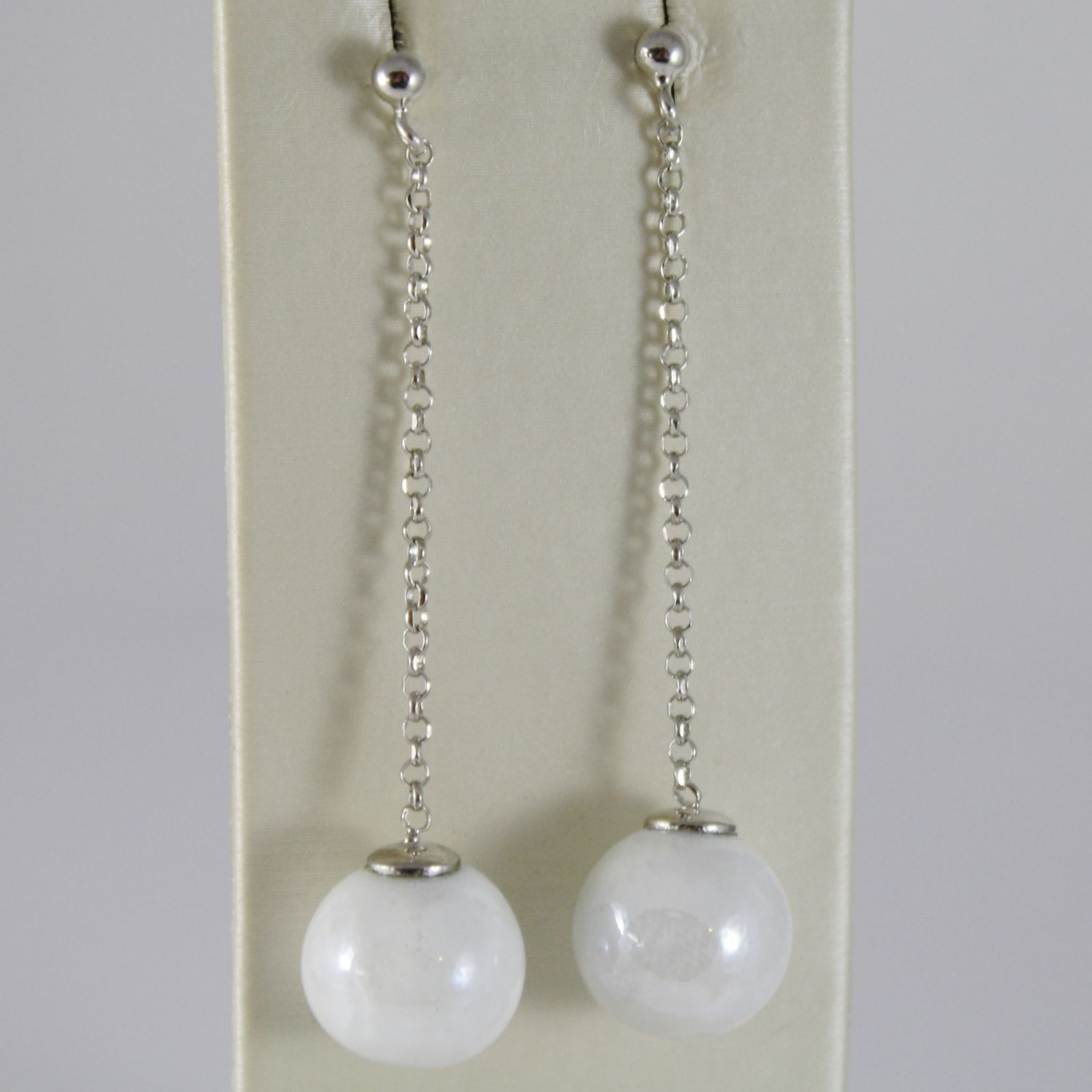 ANTICA MURRINA VENEZIA 12 MM WHITE SPHERE BALLS PENDANT 5.3 CM EARRINGS