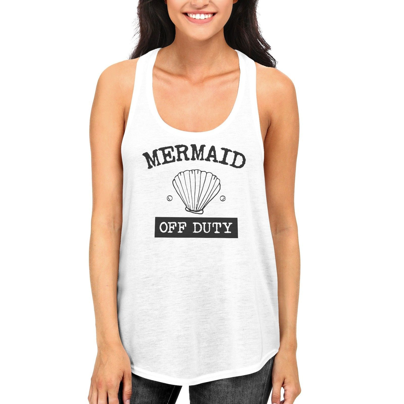 Women's Summer Mermaid Off Duty Cute Tank Top for Beach Racerback Tanks - $14.99
