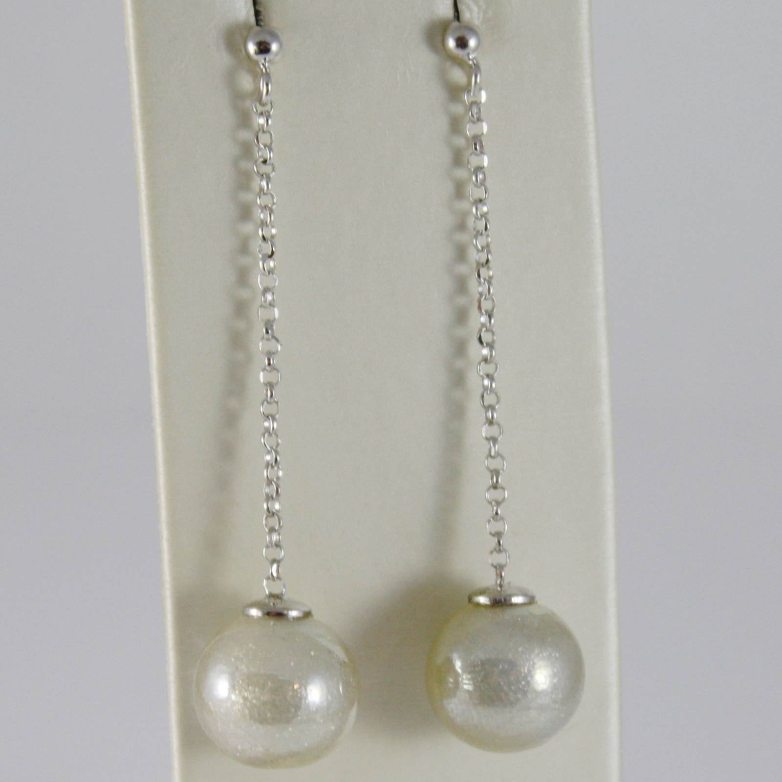 ANTICA MURRINA VENEZIA 12 MM GRAY SPHERE BALLS PENDANT 5.3 CM EARRINGS