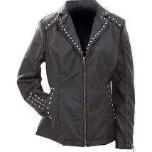 Giovanni Navarre® Tailored Ladies' Faux Leather Studded Jacket  MED-3XL - $42.89