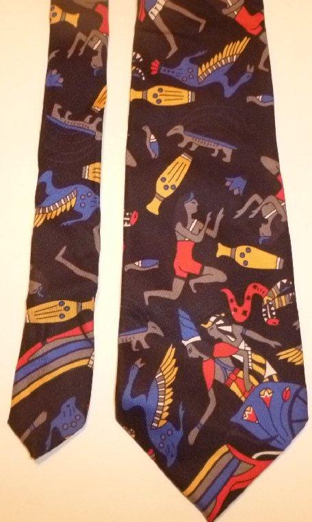Vintage TURNBULL & ASSER Neiman Marcus Egyptian design Necktie Silk TIE