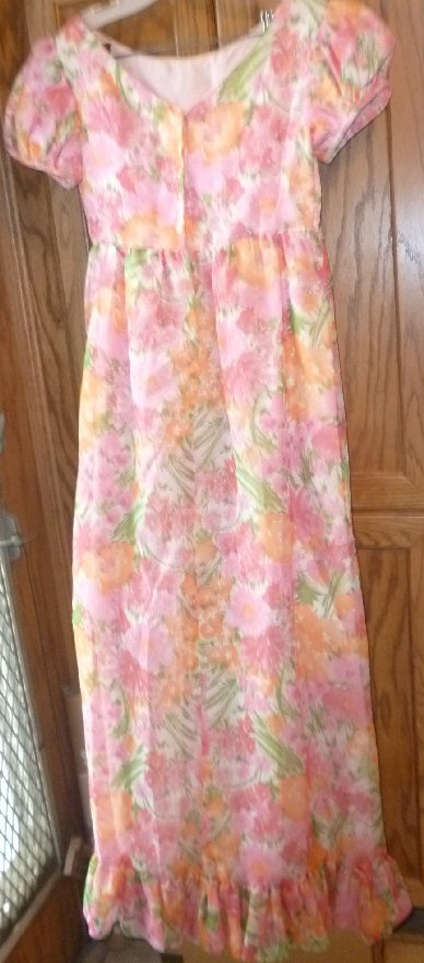 Vintage colorful floral print Prom Dress Gown
