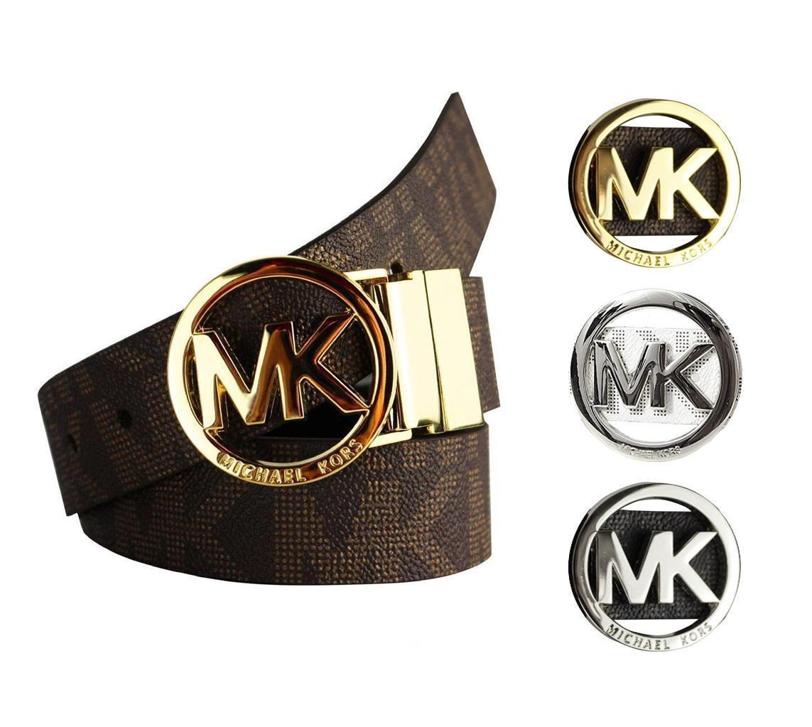 Brand New Women's Michael Kors Signature Reversible Circle MK Logo Belt 551342