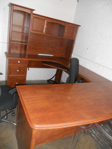 Realspace Broadstreet Contoured U-Desk + Hutch, Maple (567249+567258) - $639.99