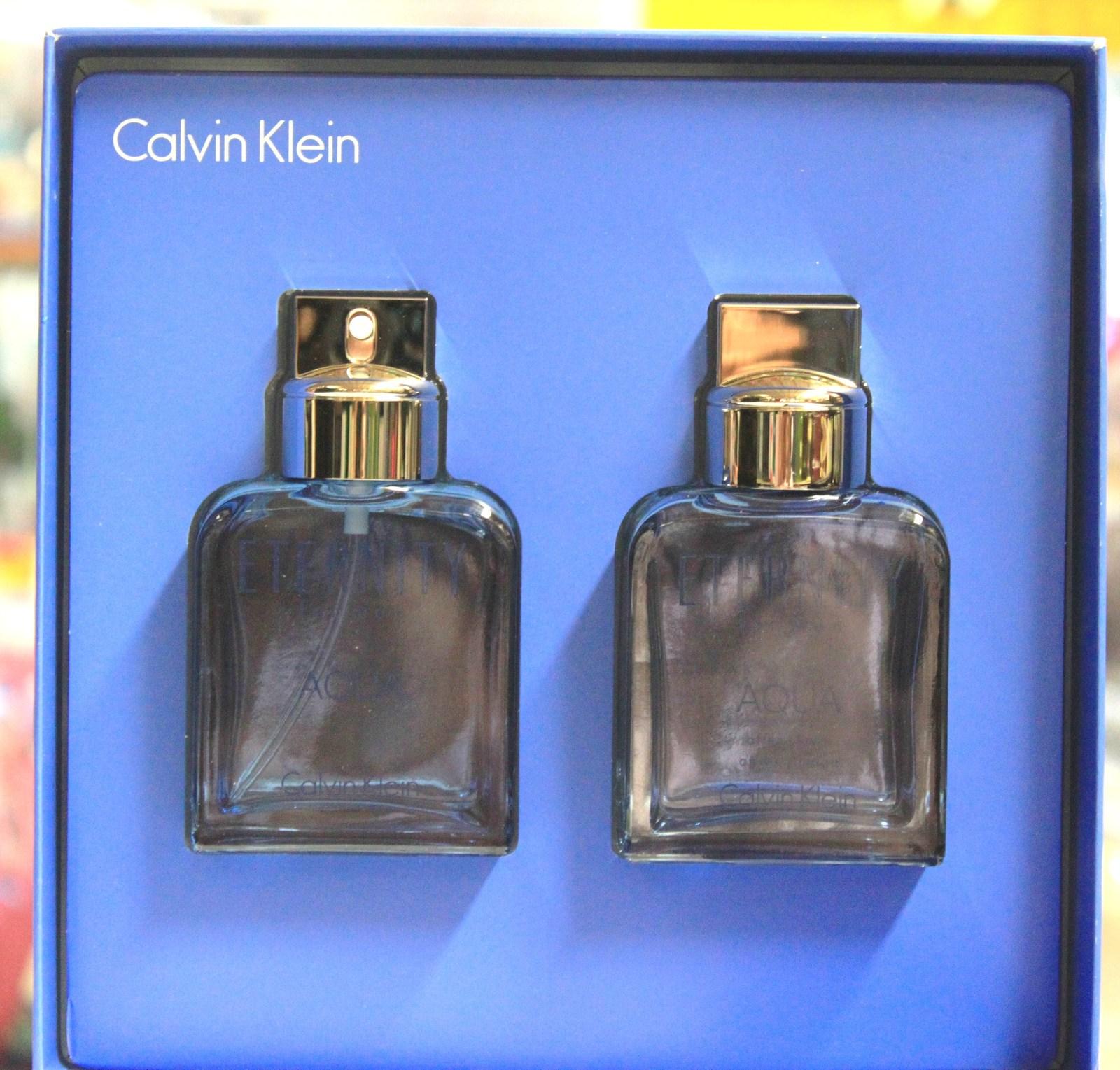 eternity aqua by calvin klein 2pcs set for men 2 glass. Black Bedroom Furniture Sets. Home Design Ideas