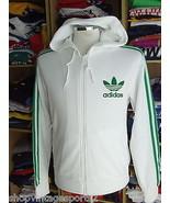 Retro Track Adidas (M) White Green Trefoil Hooded Tracksuit Trainingsjacke - $39.71