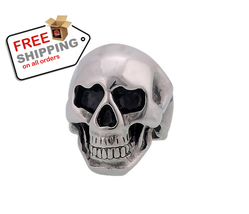 Middle Knuckle Paver Skull Ring Skeleton Biker Men and Women Jewelry - $15.00