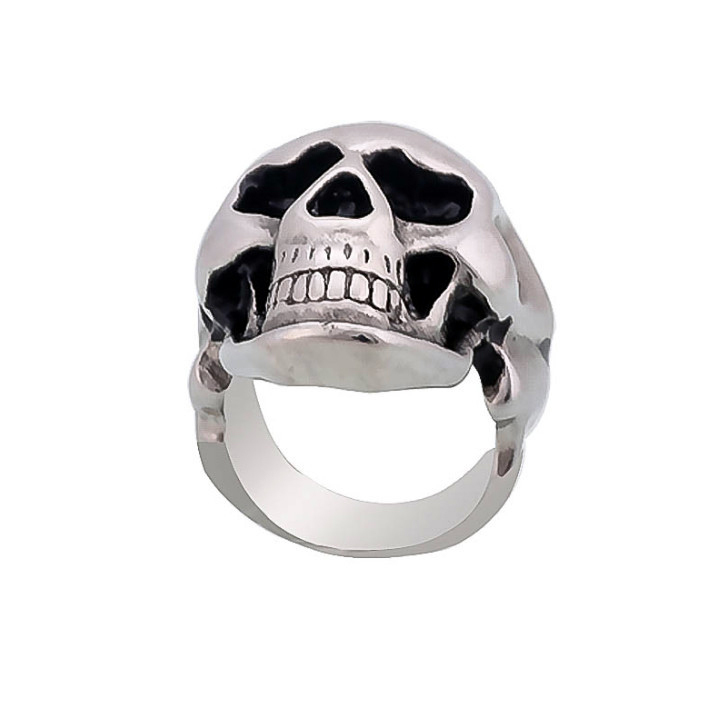 Middle Knuckle Paver Skull Ring Skeleton Biker Men and Women Jewelry