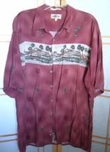 Men's Campia Moda Size XXL Burgundy Tropical/Hawaiian Shirt palm trees b... - $9.97