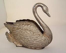 Vintage Silverplate Swan Napkin Holder, Godinger 1984, EP Zinc, Italy sh... - $14.97