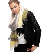 Women's Olive Green & Yellow Color Block Boucle Over Sized Oblong Scarf - €11,13 EUR