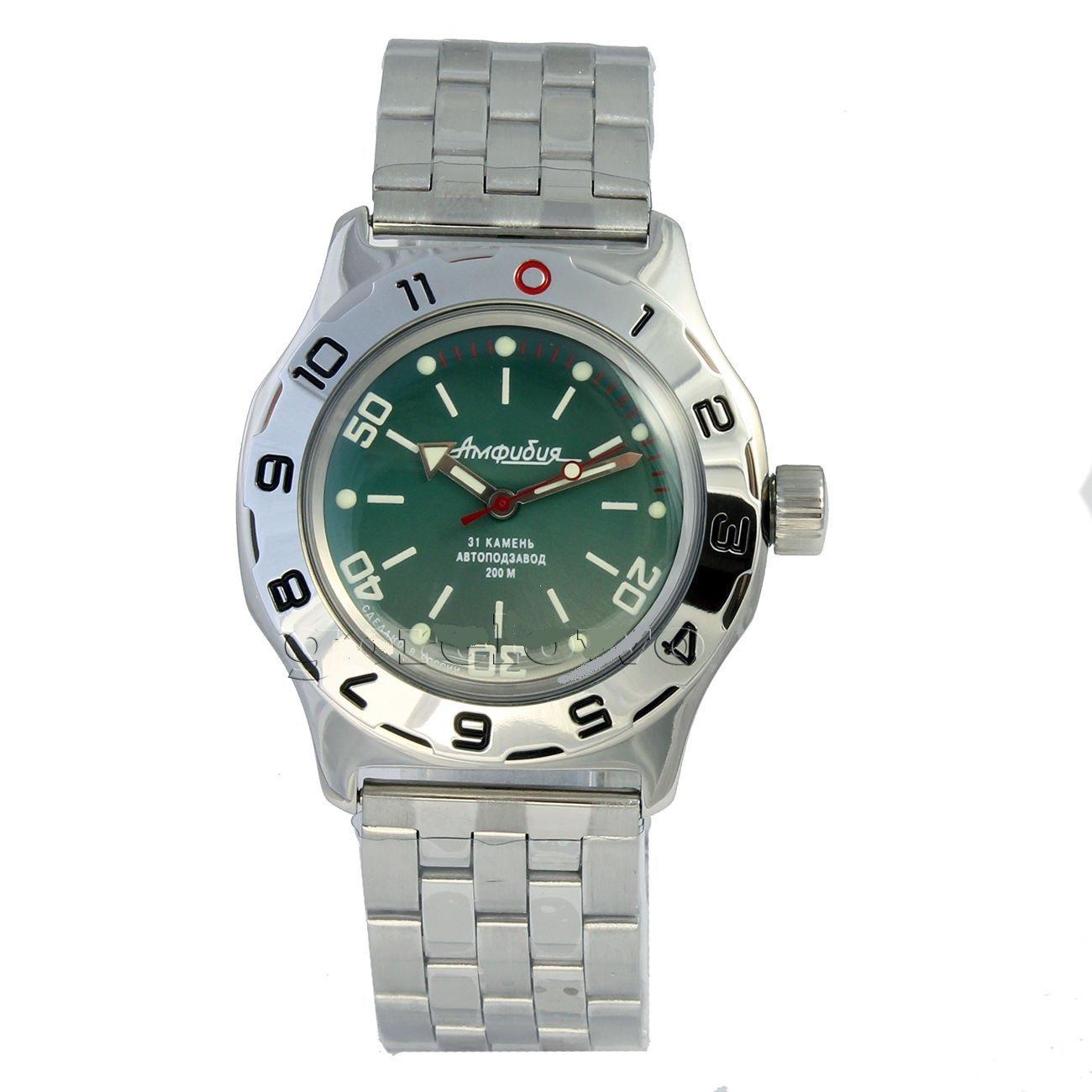 Vostok New Amphibian 100821 Russian Automatic Divers Wrist Watch 200m Auto Green