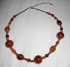 """Fashion Necklace 19"""" Brown Medium To Large Stones 3"""" Extender Beauty - $6.44"""