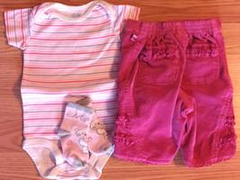Girl's Size 6-9 M Months 3 Pc Carter's Stripe Top, TCP Corduroy Capris & Socks - $14.00