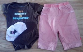 """Girl's Size 0-3 M Months 3 Piece """"My Mommy Is Exhausted"""" Top, Peach Pants & Hat - $11.50"""