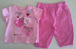 Girl's Size 6/9 M Months 2 Pc Outfit Glitter Heart Designed Pink TCP Top & Pants - $15.75