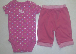 Girl's Size 3 M Months Two Piece Carter's Outfit Pink Elephant Top & Pants - $10.10
