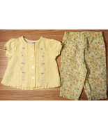 Girl's Size 6-9 M Months 2 Pc Baby Q Yellow Floral Embroidered Ruffle To... - $14.00