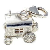 Sterling 925 British Silver Gypsy Caravan Clip On Charm Opening to Rose Lee  - $22.04