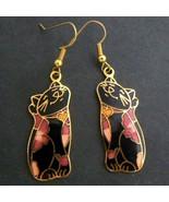 Black Cat Floral Cloisonné Enamel Earrings - $9.95