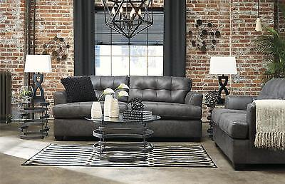 Ashley Inmon Living Room Set 2pcs in Charcoal Upholstery Fabric Contemporary