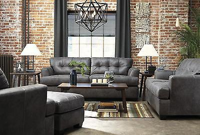 Ashley Inmon Living Room Set 3pcs in Charcoal Upholstery Fabric Contemporary