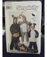 Simplicity 8331 Child Bunny, Leopard, Kangaroo & Panda Costume Pattern -... - $6.24