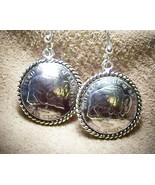 Genuine Buffalo Nickel Sterling Silver Earrings Artisan MADE IN USA - $49.00