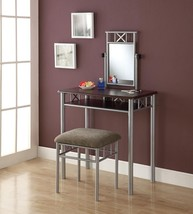 Cappuccino Vanity Set With Table and Seat Bench Chair Stool Mirror Bedro... - €263,35 EUR