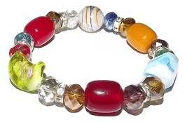 NEW MURANO GLASS WOMEN'S BEADED BRACELET MULTI COLOR HANDMADE IN ITALY - $34.60